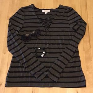 NWOT Adam Levine Long Sleeve Striped Top